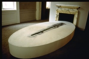 """Residue - Plaster, Drawing Ink, and vaseline. The plaster element is 12""""x12'x60"""""""