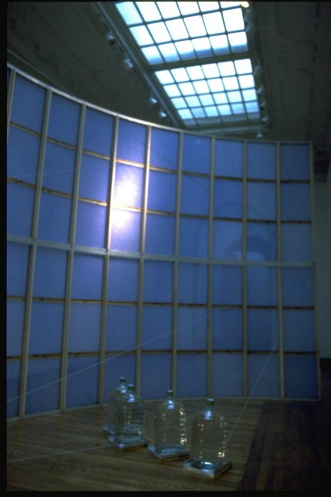 Filter, furnace filters, water, aluminum, 20'x12'x6'. The wall of air filters wa