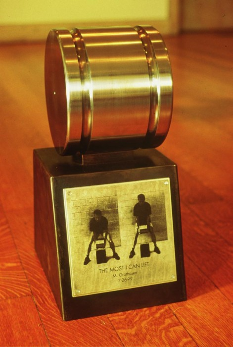 The Most I Can Lift- steel, photo etching. The solid steel cylinder is the heavi