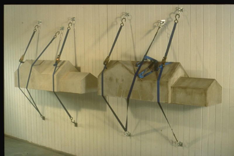 """Strapped -Concrete and straps. Each house is 54""""x16""""x16""""."""
