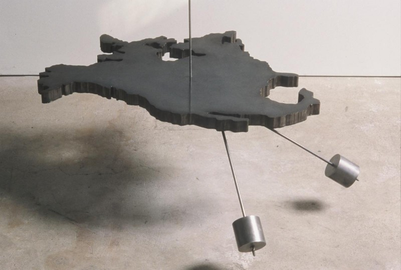 """Geographic Center of North America, steel. 25""""x32""""x1.5"""". This piece is suspended"""