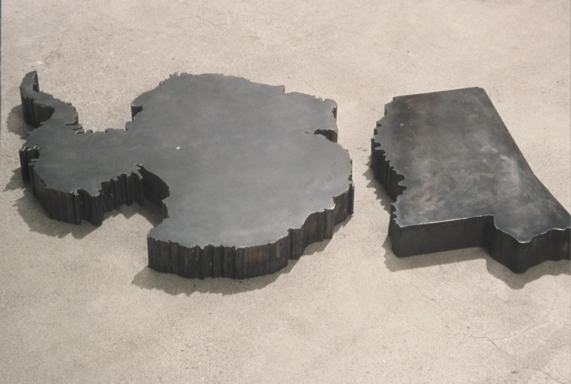 """Places Inhospitable to Man, steel, two elements. Antacrtica - 2"""" x 16"""" x 14"""", Mi"""