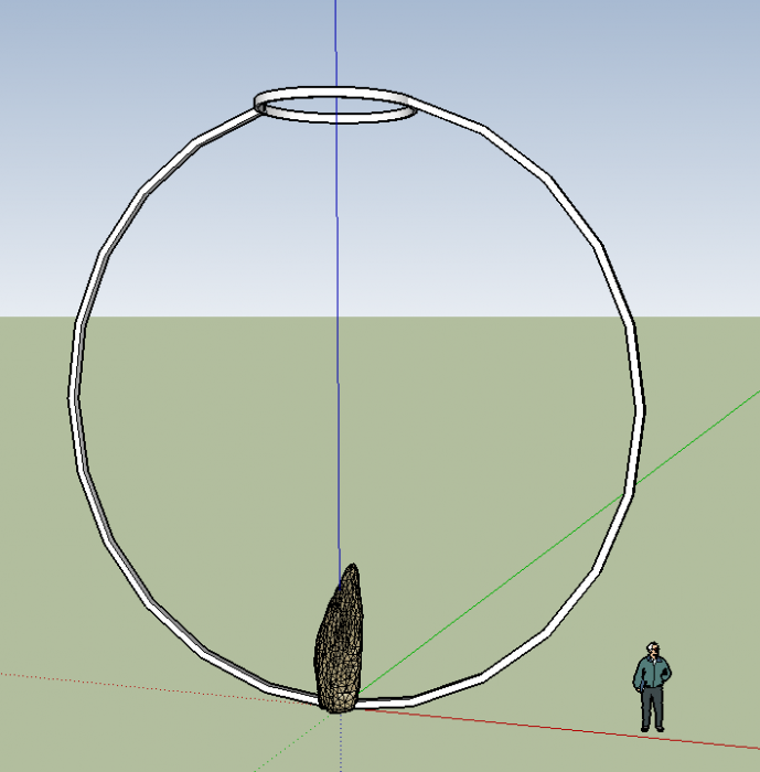 A sketch of an idea for a public sculpture with a large stone at the base and sp
