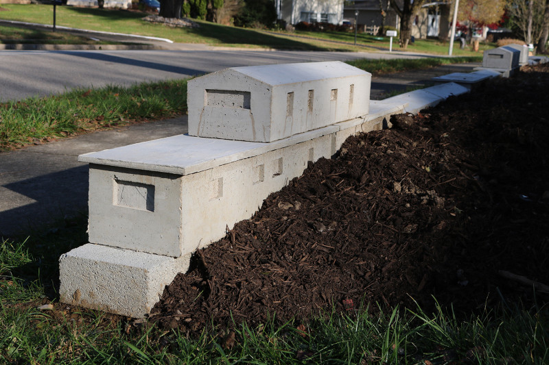 michael grothusen, trailer park sculpture, cast cement sculpture